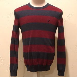 American Eagle Pullover Sweater Small Red & Gray